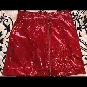 Forever 21 Red Vinyl Leather Skirt